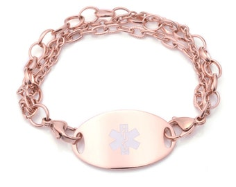Medical ID Rose Gold Triple Strand Bracelet with Tag - Many Pre-Engraved Conditions