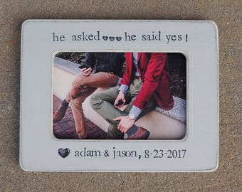 Same sex marriage picture frame gay pride Engagement gift He said yes personalized picture frame gift Gay wedding