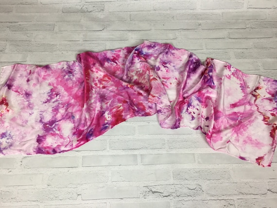 Raspberry cheesecake color 100% Silk Oblong Scarf Hand Dyed Abstract Floral Watercolor Silk Scarves Teacher Gift Red Pink Purple Colors #150