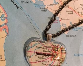 Indianapolis Vintage Map Pendant Necklace
