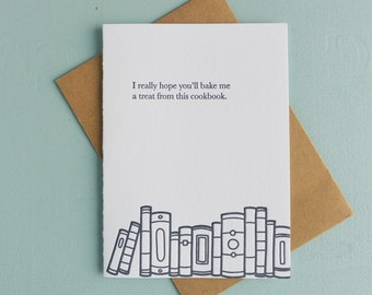 Letterpress Greeting Card - Book Gift Card - Cookbook - BKG-529