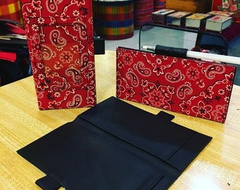 Red Bandanna Checkbook Cover, Western Billfold,Wallet