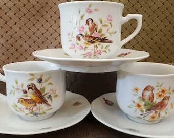 Set of 3 Cup & Saucer Sets, Song Bird Patterns, Front and Back