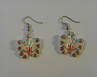 Colorful Pink and Purple on Silver Butterfly Earrings 249887