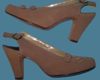 Vintage 40s Mocha Suede Slingback Shoes 5 1/2 aaa