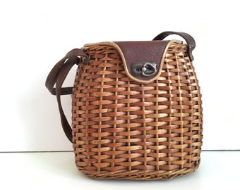 Vintage wicker handbags - Vintage Woven Rattan Basket Bag