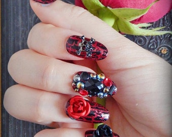 Lady Pirate Press On Nails | Bejeweled Pirate Nails | Gothic Fake Nails | 3D Fake Nails | False Nail | Costume Nails | Pirate Cosplay Nails