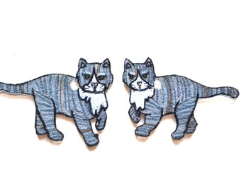 """Grey Tabby Cat Earrings 1.5""""x1"""". Color may vary because each pair of earrings will be made to order."""