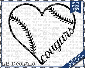 Cougars Baseball Love SVG DXF EPS Cutting Machine Files Silhouette Cameo Cricut Cougars Vinyl Cut File Softball Vector svg file