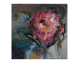 Pink Rose, Original Floral Textured Oil Painting, Small Little Lovely Impasto Flower Impressionist Art, Flowers Roses Realism Gift 8x8 inch