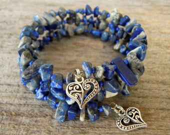 Lapis lazuli bracelet Gemstone jewelry Hearts wrist bangle Gift for her Blue bracelets Healing crystals Valentines day gift Ready to ship