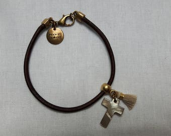 Bracelet vintage brown leather
