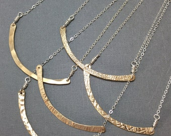 Mixed metal gold and silver bar necklace, minimalist artisan necklace in gold and silver, mixed metalnecklace