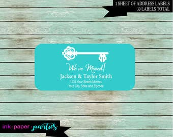 New Home We've We Have Moved Moving House Key ~ Any Color Background ~  Return Address Labels Personalized Custom