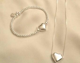 Sterling Silver Bracelet & Chain Set