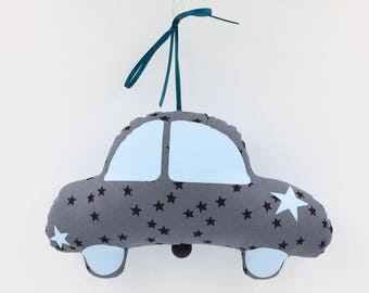 Mobile music car Ladybug Arsène petrol - blue - music box - a star in my cabin