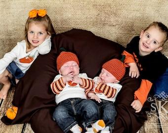 Halloween Crochet Pumpkin Hats for the whole family