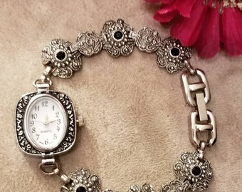 Floral Bracelet Watch, Chain, Bracelet Watch, Antique Silver, Black Accents, Ladies Watch, Quartz Watch, NEW BATTERY,  Analog Watch
