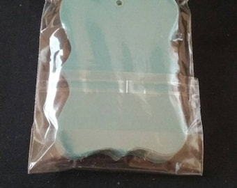 Blue Paper Tags, Unopened Package of Paper Tags, 25 Count, Party Supplies, Craft Supplies, Pre Cut Paper Tags