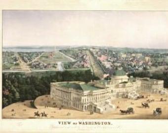 Vintage Map - Washington DC 1852