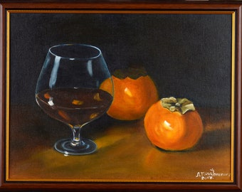 Amaretto oil painting on canvas food drink still life persimmon