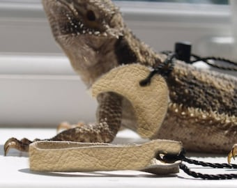 100% Leather Beige Bearded Dragon + Rat Harness