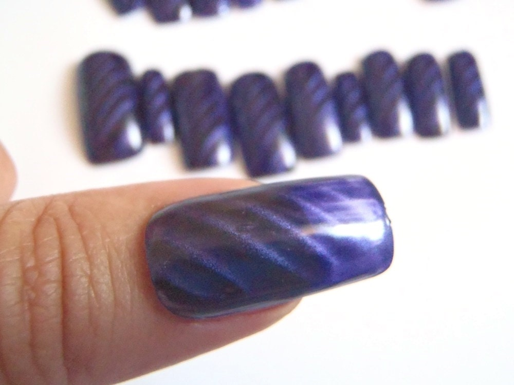READY TO SHIP indigo squoval false nails purple black fake nails ...