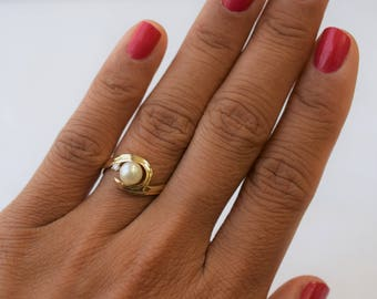 Ride the Wave Ring - 5.5x6mm Japanese Akoya Pearl Ring in 14K Yellow Gold