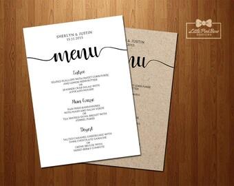 Wedding Menu Printable, Printable Rehearsal Dinner Menu, Wedding Dinner menu, Reception Dinner Menu, Engagement Menu, Printable Wedding Menu