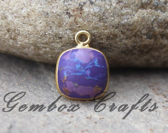 Purple Mohave Turquoise 20mm Cushion Square Cabochon 925 Sterling Silver Gold Plated Bezel Pendant