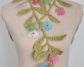 Branch - Crochet Leaf Loom Flower Lariat