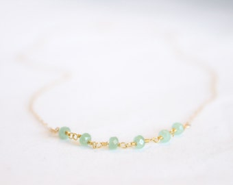 Mint Chalcedony Necklace - Gemstone Beaded Necklace - Stacking Necklace - Layering Necklace - Simple Gold Necklace Light Green - Teal Blue