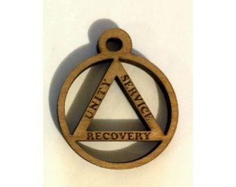 Laser Engraved Alder Wood Recovery Pendant - Unity, Service, Recovery