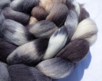 Tortoiseshell Polwarth and Mulberry Silk Blend - Hand Dyed Wool Roving (Top) - 100g