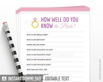 How well do you know the Bride - Bridal Shower Game - Scalloped theme Pink - INSTANT DOWNLOAD - Printable PDF with Editable Text