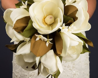 Hand-Made Southern Silk Magnolia Bouquet