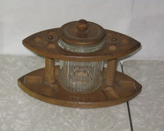 Vintage wooden pipe stand with tobacco jar