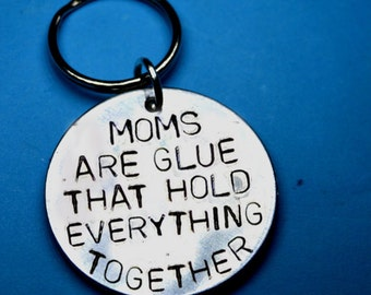 Personalised Mother gift, Mothers day, gift for mum, UK, moms are glue, Customised keyring, Handstamped keyrings, Personalised gifts, mother
