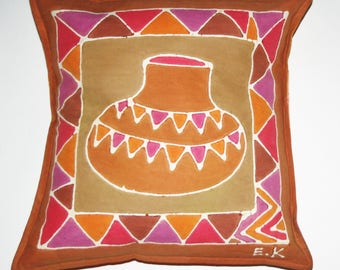 African Batik Pillow African Pot Design Tribal Designs Handmade Zimbabwe Sadza Batik Fair Trade -  Free Shipping U.S.