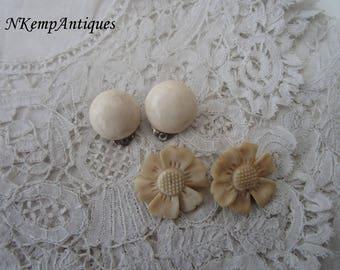 Vintage bone earrings x 2 clip ons