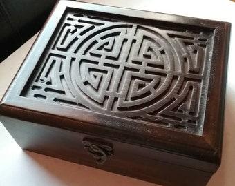 Celtic design dark  wooden box