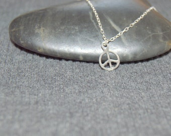 tiny peace sign necklace sterling silver, dainty necklace, petite charm necklace, hippie jewelry, boho necklace, peace symbol, minimalist