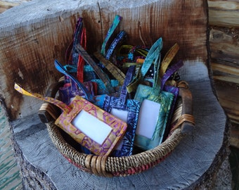 Cotton Batik Fabric Luggage Tags