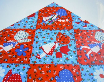 Vintage 1980's Retro Holly Hobbie Wrapping Paper Red White and Blue Birthday Any Occasion Gift Wrap