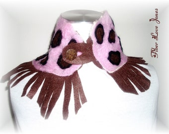 Pebbles- A 'OOAK' nuno and needle felted neck warmer scarflette - Ready-to-Ship