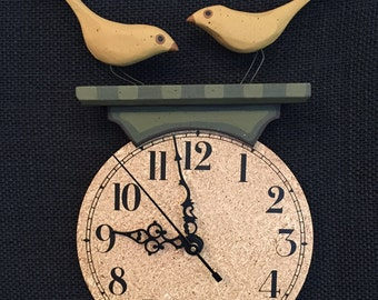 Wall Clock-Carved Birds