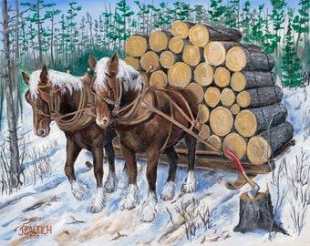 Horse Log Team Prints from Orginal Acrylic on Canvas