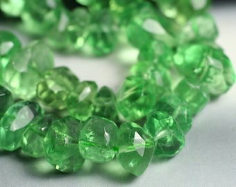High quality green fluorite (natural) faceted nuggets, 8-inch strand (item ID XGGFN)