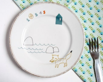 Porcelain plate - Fox at the lake
