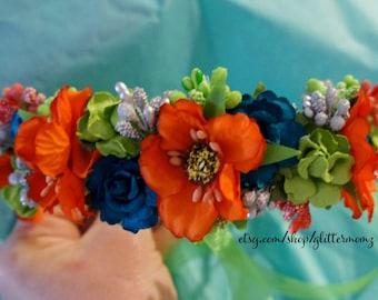Floral Crown Flower Bridal Crown Customize colors floral crown, head wreath, floral bridal crown, flower headpiece